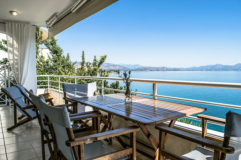 Sea view balcony at waterfront one bedroom apartment in Kiveri close to Nafplio
