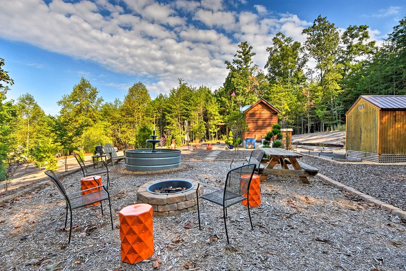 The property rests on 3 acres of peaceful wooded land.