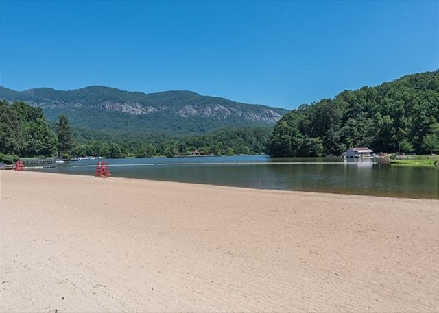 Public beach area in Lake Lure.