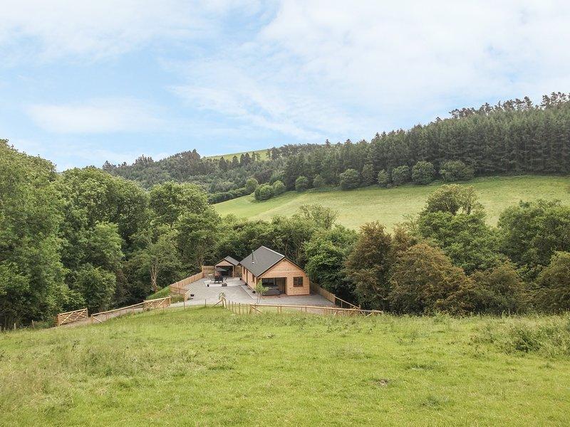 PLOONY HILL LODGE, woodburner, open-plan, hot tub, in Knighton, Ref. 949952, holiday rental in Dulas