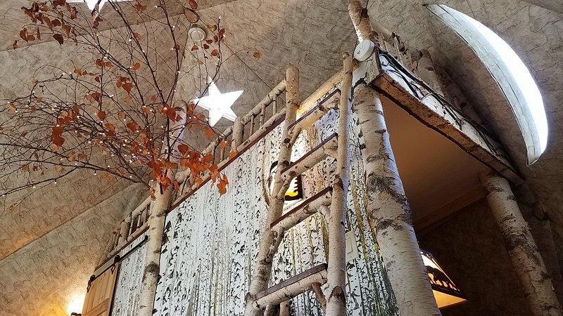 Birch ladder to the loft, star skylight, moon window, bedroom behind the birch forest wall