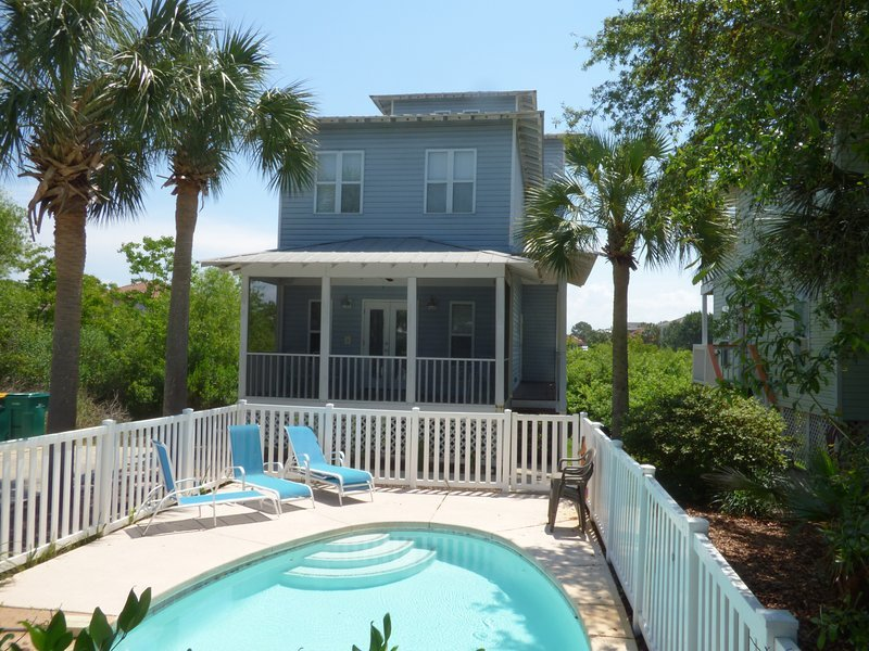 Kids love the private pool. Screened porch off downstairs bedroom. Located at end of quiet street.