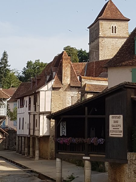 Stilted houses in the medieval town of Salies de Bearn