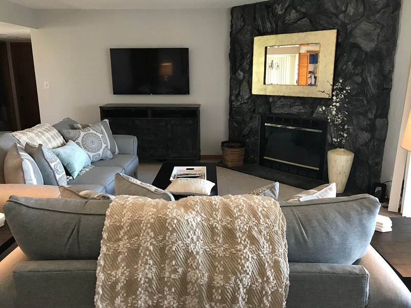 Living room with 55' flat screen smart tv and working fireplace (duraflame only)