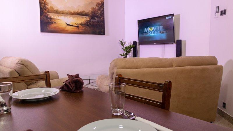 Vestíbulo del apartamento con sistema de cine en casa de TV y Sony