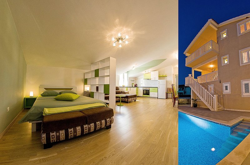Elegant spot in attic with pool and lovely sea view III, holiday rental in Sumartin