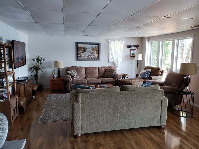 Lower level living room with 55' TV, DVD player with Netflix and Hulu.