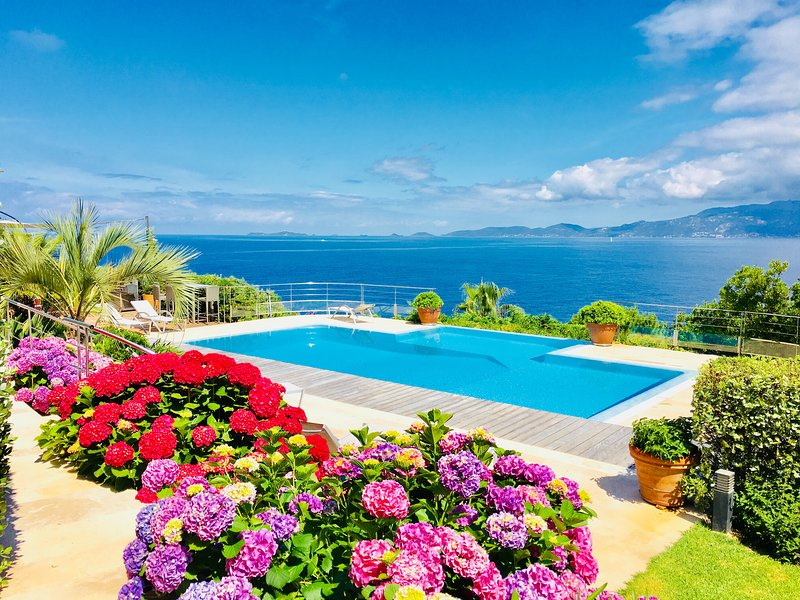 View of pool,sea and Sanguinaires islands