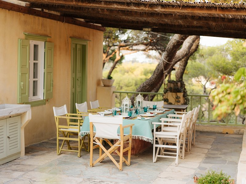The covered veranda is perfect for long, lazy lunches