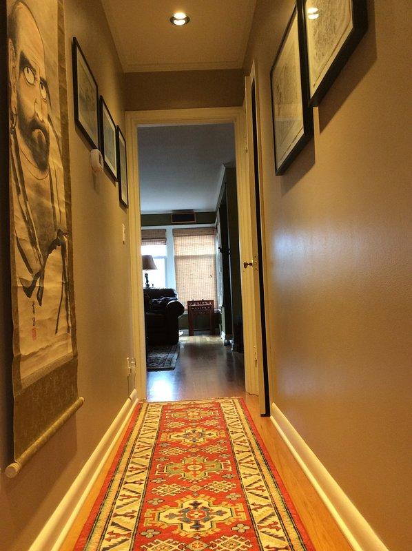 Art-filled hallway