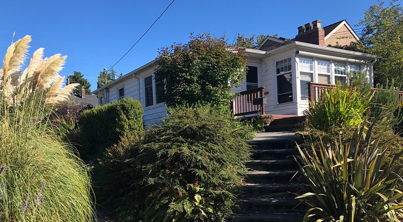 Street view of front of house. There is easy access from back of house - only two stairs.