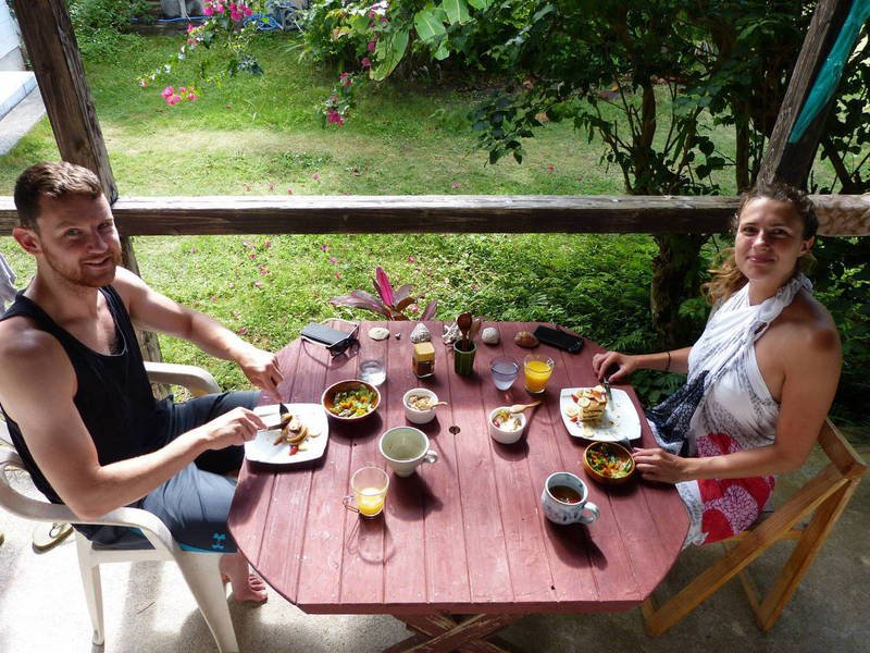 Friendly guests from the UK enjoying a tasty and healthy breakfast