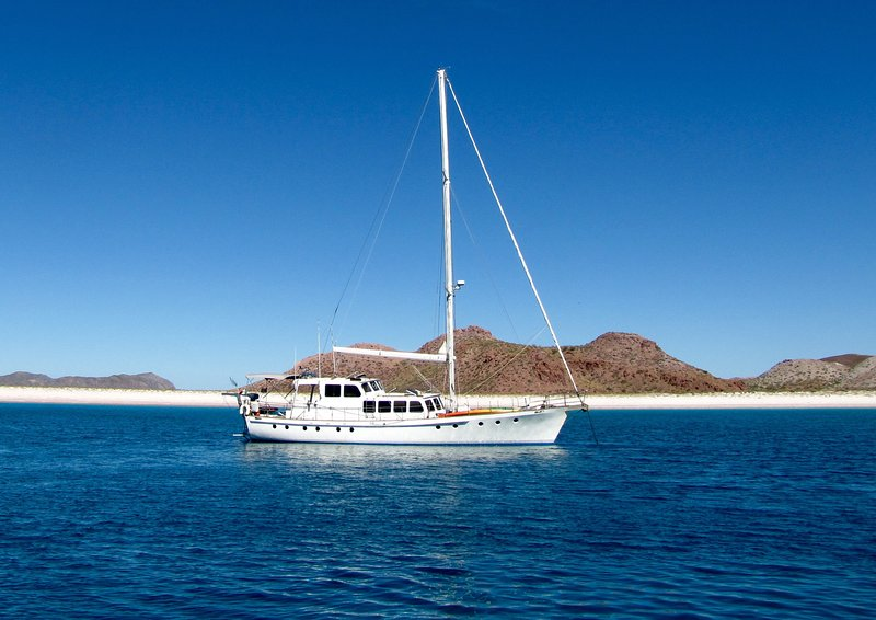 Beautiful blue water 70' motor-sailer