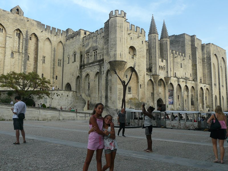 our girls in front of the palace of the popes of Avignon