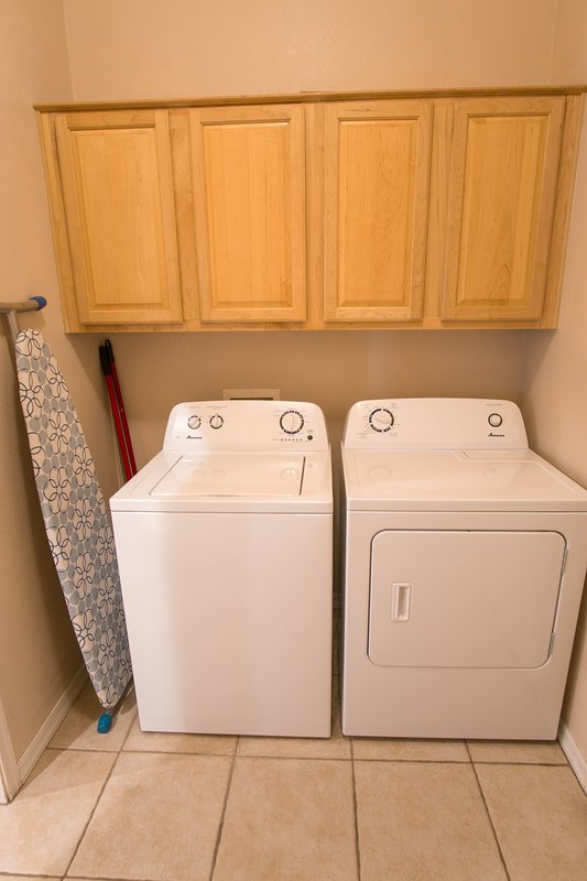 Full size Washer and Dryer with all essential for handling your laundry.