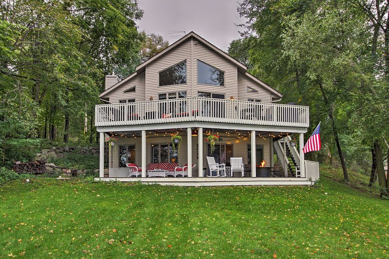 Escape to this massive, lakefront vacation rental cabin in South Haven.