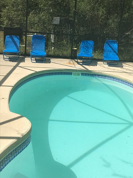 YOUR OWN PRIVATE Outdoor screened in-ground pool with 6 lounge chairs!