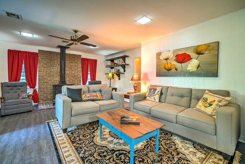 The interior boasts 1,800 square feet of living space & homey decor.