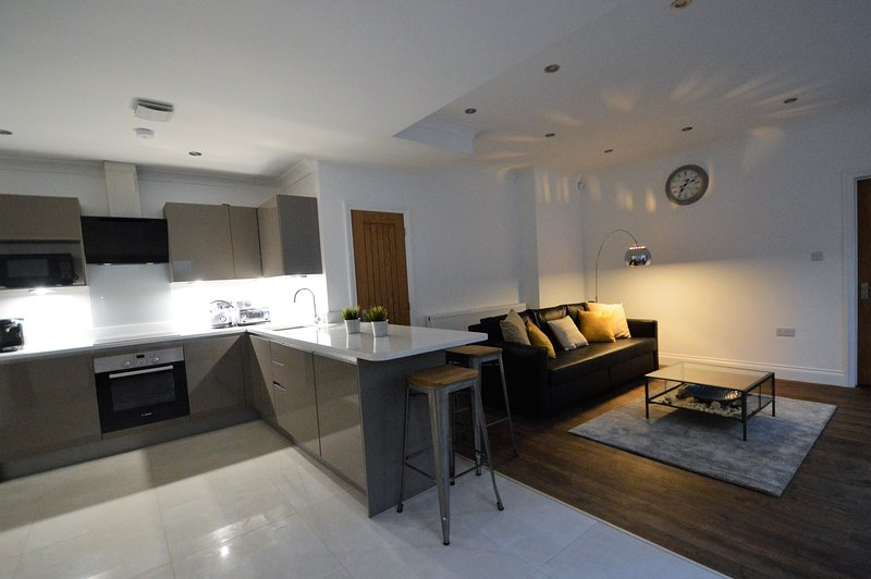 Open plan living and cooking area.