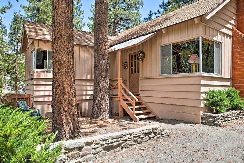 A quiet mountain retreat awaits you at this Wrightwood vacation rental cabin.