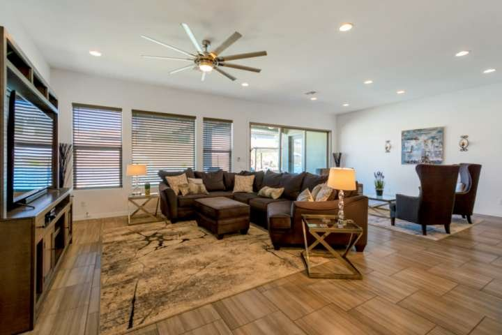 Great gathering place with a large flat screen TV and cozy sectional couch