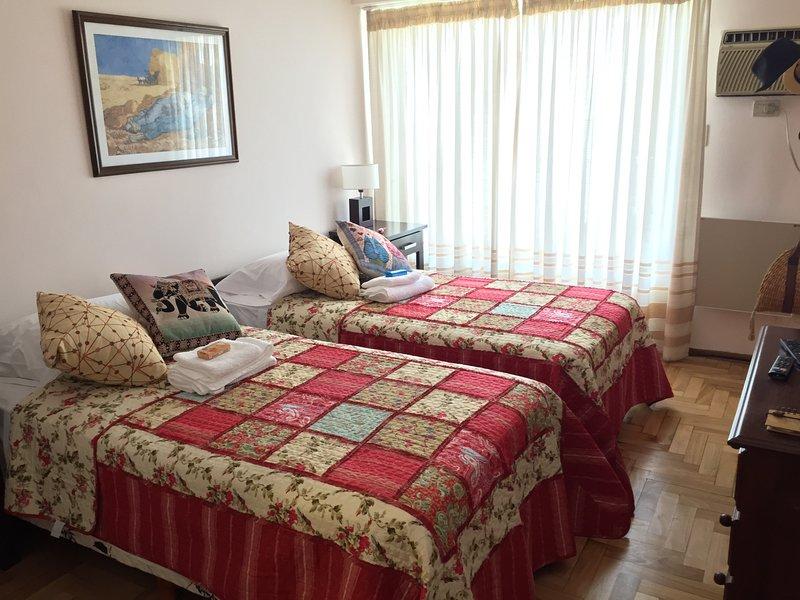 Camera da letto principale con balcone sulla strada, due molle, aria condizionata e TV