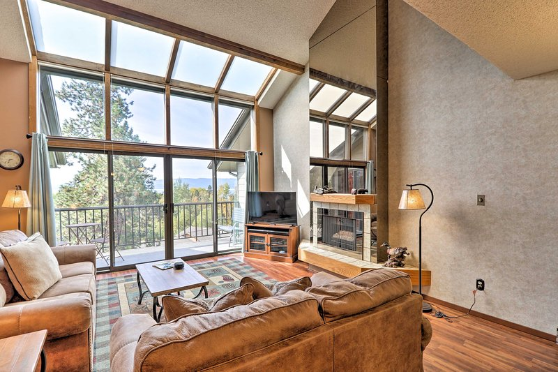 A vaulted ceiling, cabin-like decor, and natural light welcome you inside.