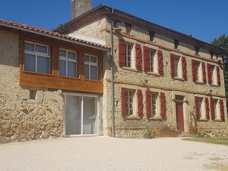Front of the house and gite (on the left handside)
