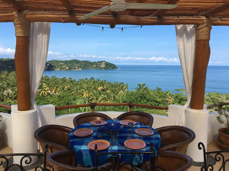 Roof Terrace with Sweeping Ocean Views & Hammock, Swings, Dining, Kitchenette & Gas Grill