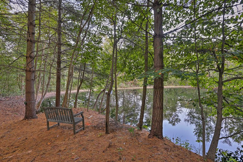 Stroll over to the pond to admire the view or feed the fish.