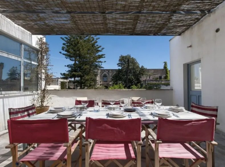 The terrace overlooking the Arditi castle- perfect place for an evening meal