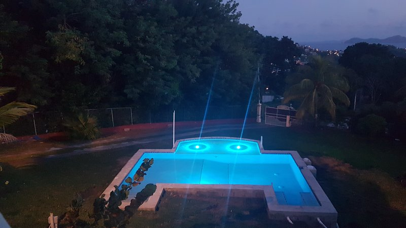 Newly constructed pool with LED colored lighting