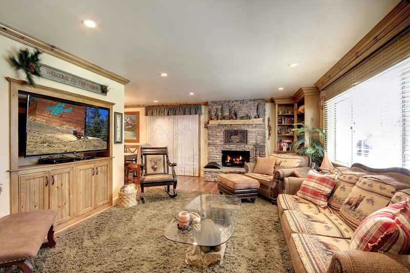 Family Room with HD TV and gas fireplace