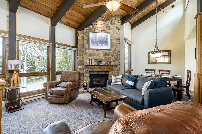 Warm up by the gas fireplace after your day on the mountain.