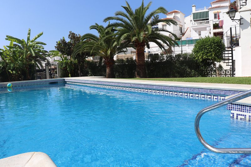 The pool just five meters from our apartment!