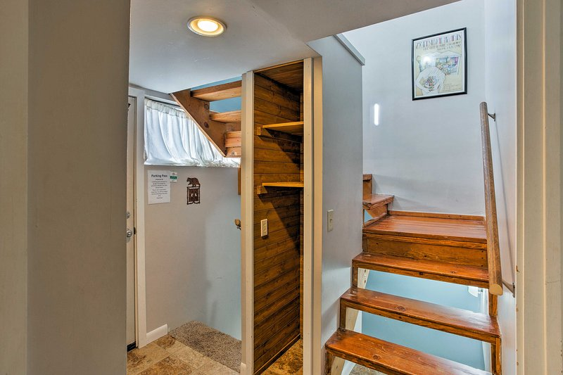 Follow the stairs up to the loft.