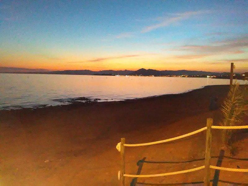 Sunset on the bay of Puerto de Mazaròn and Isla Plana