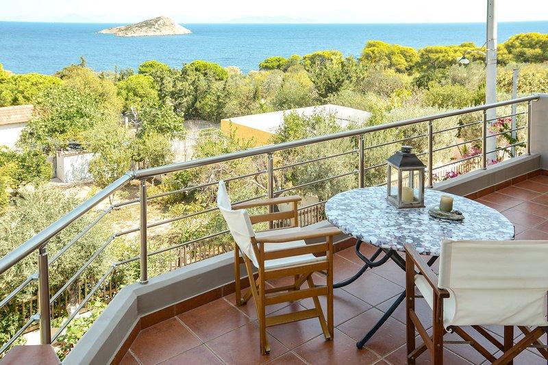 Serenity  villa-sea view - 2nd floor-sea180m away,sandy beach at 300m.AMA 1803., vacation rental in Porto Rafti