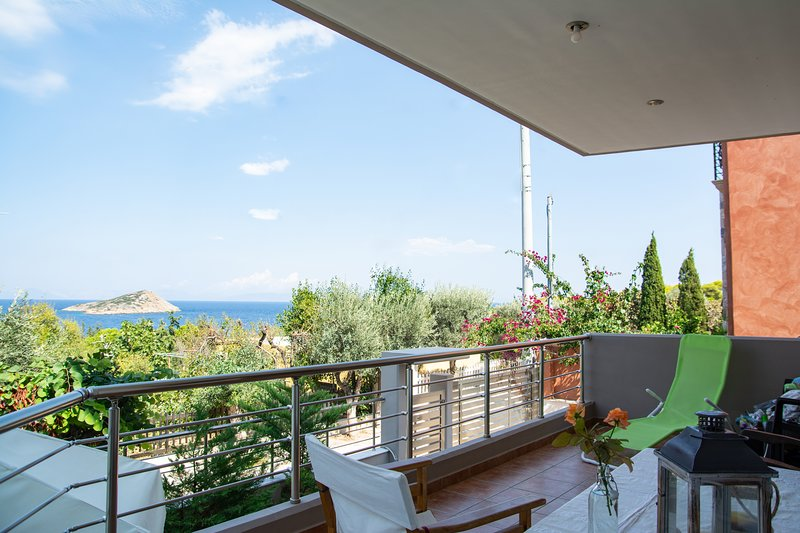 Serenity  villa-sea view- 1st floor-sea180 m away,sandy beach at 300m.AMA 1785., vacation rental in Porto Rafti