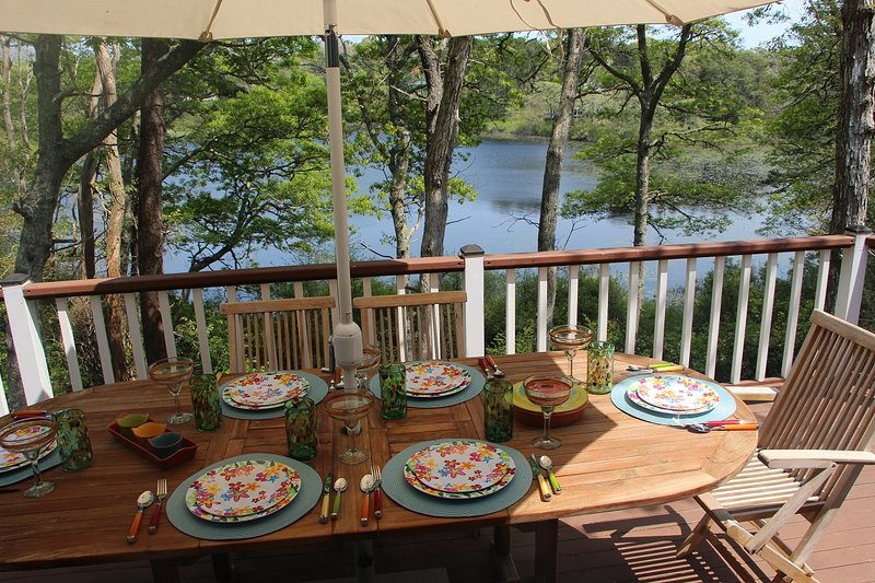 Fabulous views of Uncle Seth's Pond from this oversized deck and from the kitchen and living room