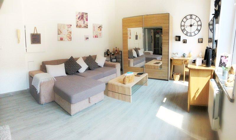Espaçosa sala de estar com armazenamento, cofre, área de escritório e sofá-cama 3 lugares.