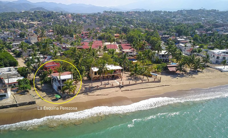 La Esquina Perezosa (The Lazy Corner) from way up high and our private stretch of beach.