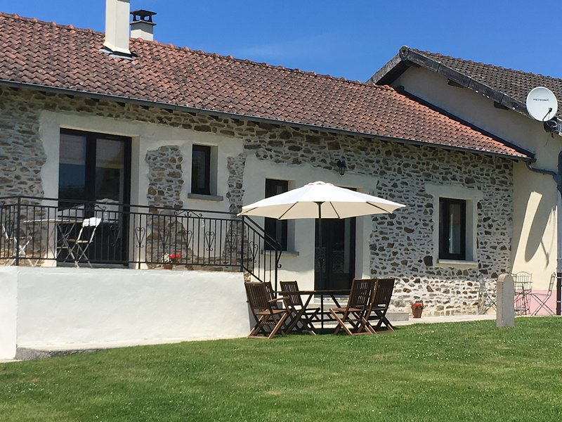 La Vue Limousin Vacations - front of cottage with private garden and terrace