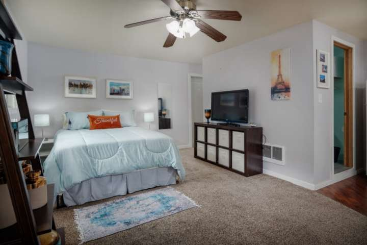 The studio apartment offers a clean, open, and bright layout for your stay