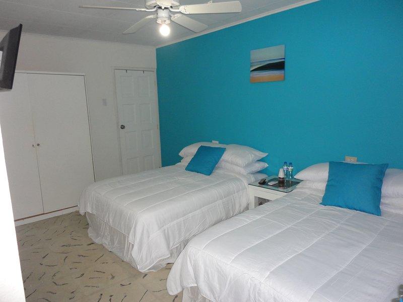 Chambre Quadruple Bleue avec salle de bain privée attenante. Eau chaude et Smart TV. Navette gratuite à l'aéroport