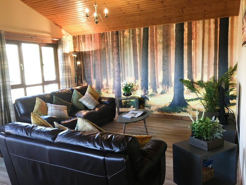 Silver Birch Lodge with Hot Tub near Cupar, Fife, casa vacanza a Luthrie