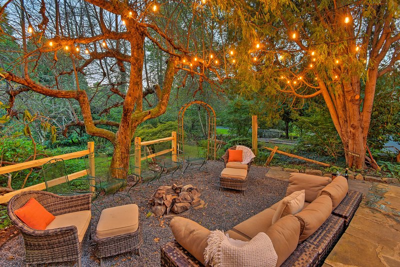 On chilly nights, gather on the new outdoor furniture that frames the fire pit.