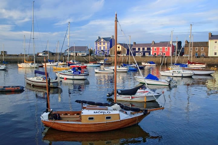 Aberaeron with its colourful Georgian houses, good restaurants and festivals