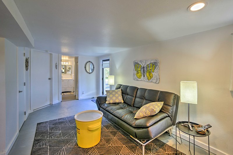 The garden-level unit sleeps 4 and has been recently renovated.