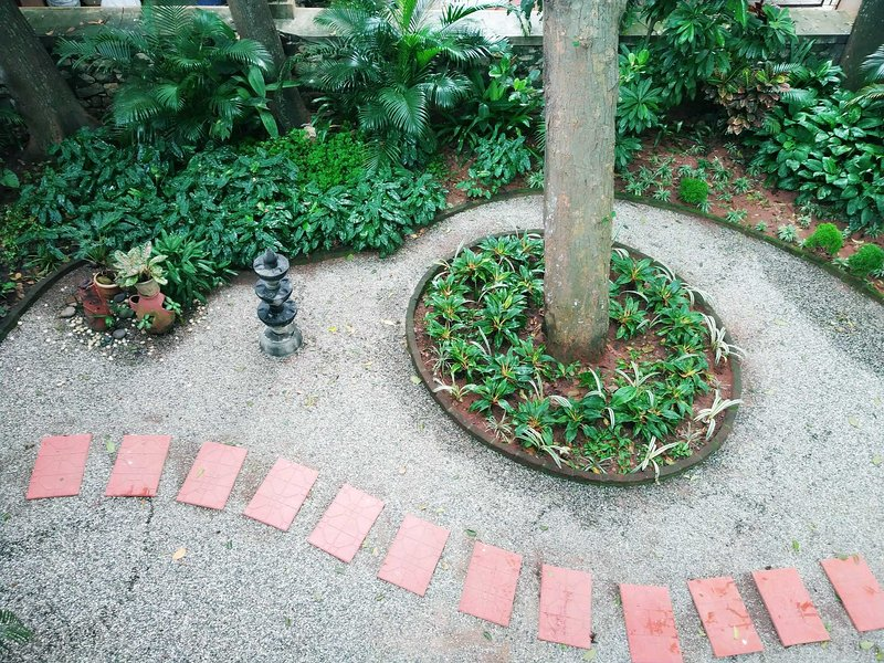 Traditional kerala oil lamp view from balcony